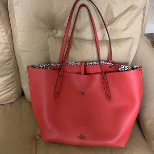 Coach Red/Orange Tote with Floral Interior